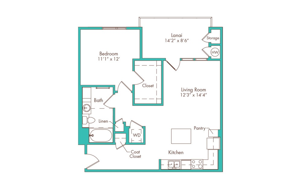 1C 1 Bedroom 1 Bath Floorplan