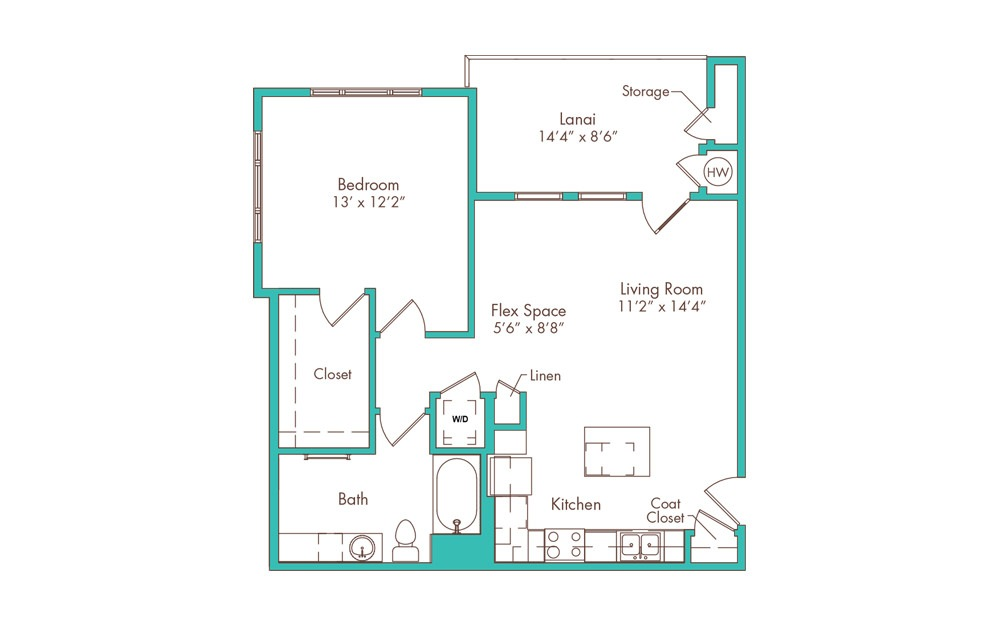 1CA 1 Bedroom 1 Bath Floorplan