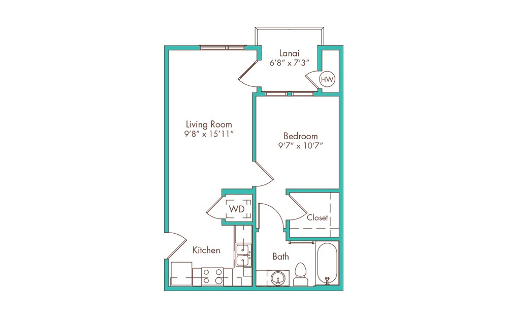 1JA 1 Bedroom 1 Bath Floorplan