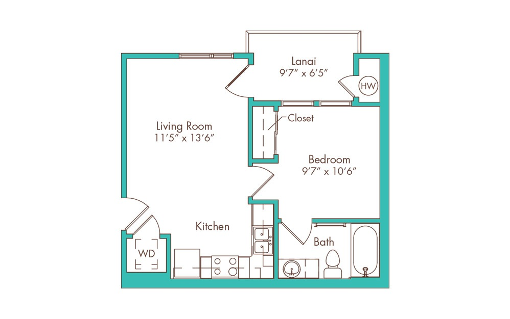 1JC 1 Bedroom 1 Bath Floorplan