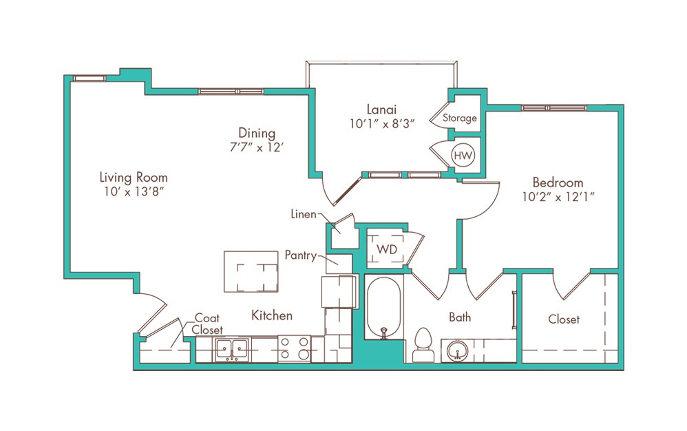 1aa 1 Bedroom 1 Bath Floorplan