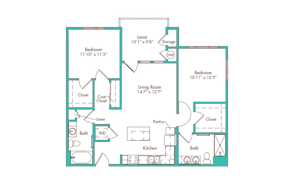 2B 2 Bedroom 2 Bath Floorplan