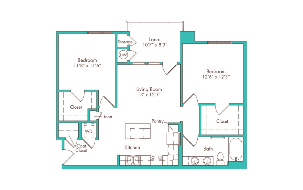 2F 2 Bedroom 1 Bath Floorplan